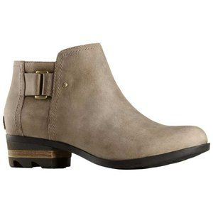 SOREL Lolla Ankle Boot Leather Buckle Taupe 7 Grey